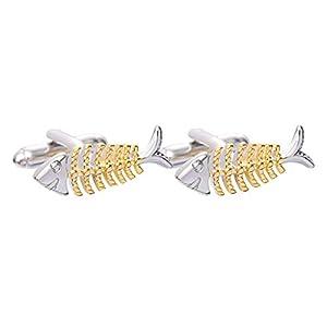Mode Kreative Gold Fischgräten Hülse Nagel, Männer Frauen Manschettenknöpfe Schmuck, Kupfer 1 Para 2,9 × 0,9 cm Kleidung Zubehör, Für Cocktail Hochzeit Bankett