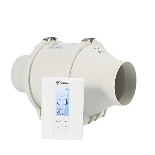 Hon&Guan Rohrventilator - Abluftventilator Badlüfter mit Hygrostat und Timer, Intelligenter Controller mit Drei Geschwindigkeitssteuerung (ø100mm) -