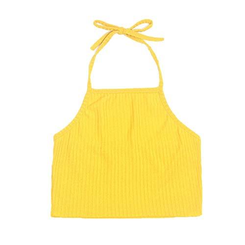 IMJONO Frauen Leibchen Jubiläumsfeier 2019 Frauen ärmellose rückenfreie Bandage beiläufige Weste übersteigt Bluse(Medium,Gelb)