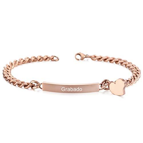 Imagen de memediy rosa oro tono acero inoxidable pulsera brazalete eslabones link enlace corazón heart pulido  grabado personalizado