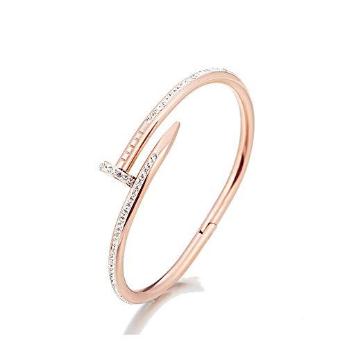 KRMZB Eingelegter Flash Diamant Persönlichkeit Nagel Armband weiblichen Titan Stahl plattiert 18K Rose Gold Mode verblasst Nicht Armband Armband (Diamant Armreifen Armbänder)
