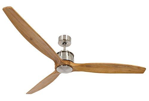 Lucci air Airfusion Akmani Design-Deckenventilator, 152 cm Durchmesser, Teak/Chrom gebürstet, ECO-DC-Motor energiesparend (35W), mit Fernbedienung (6 Stufen) -
