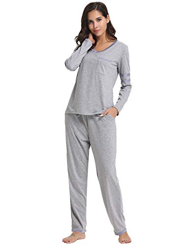 Hawiton Damen Schlafanzug Hausanzug Langer Pyjama Nachtwäsche Set Baumwolle Lang V Ausschnitt Grau XL - Baumwolle Pj Set