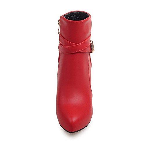 VogueZone009 Femme Mosaïque à Talon Correct Pointu Zip Bottes avec Boucle Rouge