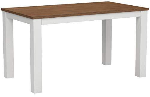 Naturholzmöbel Seidel Esstisch Rio Landhaus 140x80cm Pinie Massivholz, Tischplatte leicht gebürstet, Farbton: Weiss/Kolonial Zimt, Optional erhältlich: passende Bänke und Stühle