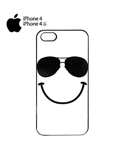 Smile Glasses Funny Face Cool Popular Summer Holiday Mobile Phone Case Cover iPhone 4&4s Black Noir