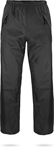 normani Outdoor Sports wasserdichte Regenhose 6000 mm mit Reißverschluss-Seitentaschen für Wandern, Angeln, Gassi gehen oder Fahrrad Fahren - Unisex für Damen und Herren Farbe Schwarz Größe M