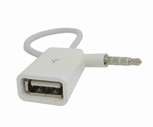 FINOO ® | Auto AUX Audio Plug zu USB 2.0 Buchse Konverter Kabel (Weiß) (Auto Usb-audio)