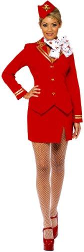 Karneval Damen Kostüm sexy Stewardess rot Flugbegleiterin Gr.40/42