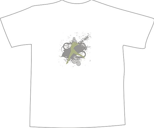 T-Shirt E419 Schönes T-Shirt mit farbigem Brustaufdruck - Logo / Grafik - abstraktes Design - springende Frau mit schönen Ornamenten Weiß