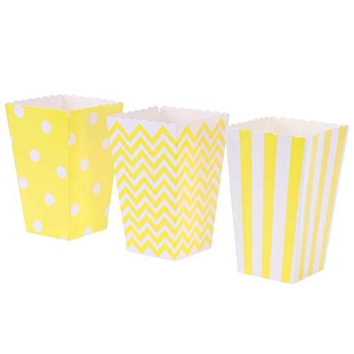 BESTONZON 30 unidades de palomitas de maíz de cartón a rayas patrón de lunares de olas, cajas de pollo para fiestas de cumpleaños, baby shower, graduación (amarillo)