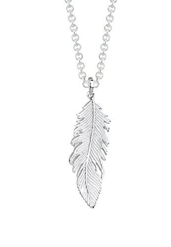 Elli Damen Schmuck Halskette Kette mit Anhänger Feder Boho Hippie Bohemian Beach Gypsy Silber 925 Länge 80 cm
