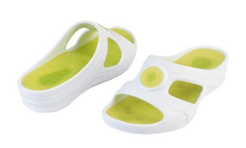 Senses Aqua - Chaussures professionnelles WOCK - Talon compensé; canaux de drainage; amortissement des chocs; ultra léger Blanc/Vert