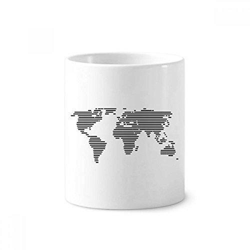 diythinker einfach Black Line Weltkarte Muster Keramik Zahnbürste Stifthalter Becher weiß Tasse 350ml Geschenk 9,6cm hoch x 8,2cm Durchmesser