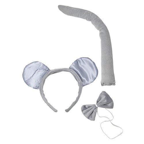 PTIT CLOWN 19920 Maus Satz - Haarreif, Schwanz und Fliege,2400 W, Grau (Maus Kostüm Kinder)