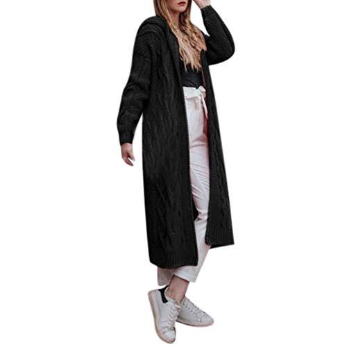 TAMALLU Damen Pullover Stilvoll Stricken Ausgebeult Langarm Weich Einfach Tops(Schwarz,M)