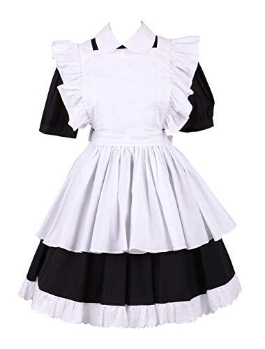 Puppe Kostüm Frauen - Antaina Schwarz Baumwolle Weiß Schürze Gothic viktorianisch Maid Knielang Elegant Lolita Cosplay Kleid,XL