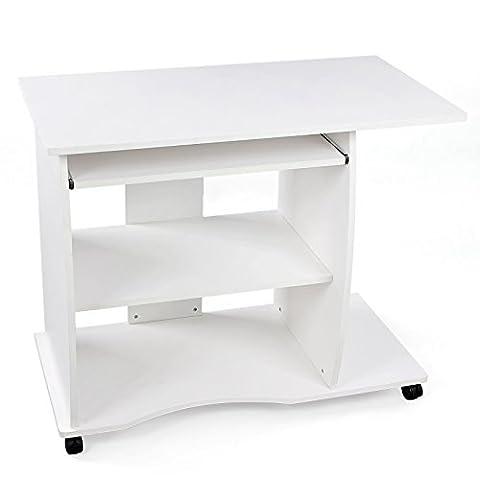 Songmics Schreibtisch Computertisch Bürotisch auf Rollen 2 Ablageböden 90 x