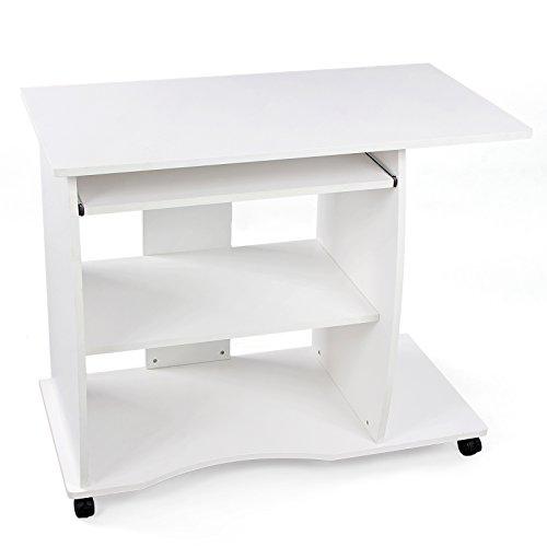 Songmics Schreibtisch Computertisch Bürotisch auf Rollen 2 Ablageböden 90 x 75 x 50 cm LCD751W