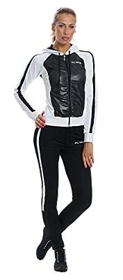 Mobina Damen Sportanzug mit Kapuze - schwarz/weiss
