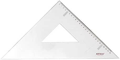 Piaceto Lot de 2 r/ègles triangulaires en plastique robuste et de haute qualit/é 20cm