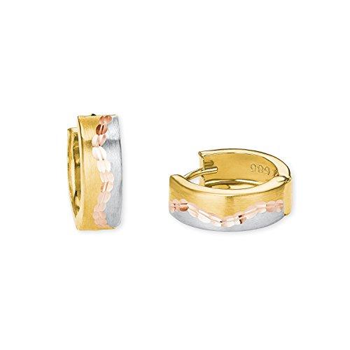 klassische Damen-Ohrringe im tricolor Look aus 585er Gelbgold