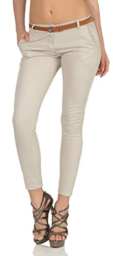 Malito Damen Chinohose mit Gürtel | Stretch Caprihose | schicke Freizeithose | Skinny - Slimfit - elegant 5388 (XXL, beige)