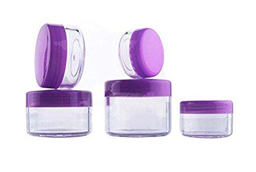 Runde Form leere nachfüllbare Reise Kunststoff Make-up Gesichtscreme kosmetische Lippenbalsam Augenschatten Probe Jar Pot Container Lagerung Bottels Box Fall mit lila Schraubdeckel (12PCS) (15ml) -