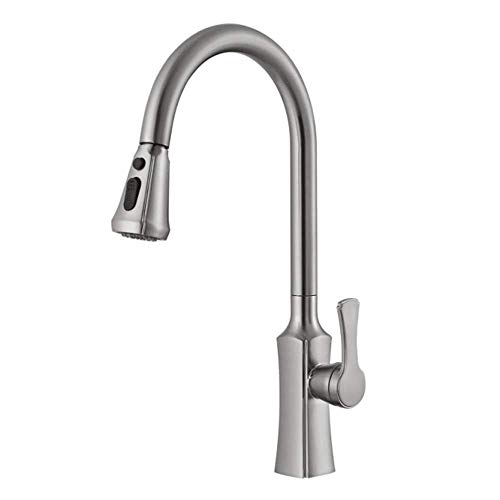 snowballing Black Kitchen Pull Out Mixer Tap Brass Kitchen Mixer Tap with Extendible Dish Rinser Single Lever Mixer Tap Sink, Silver, Brushed Nickel -