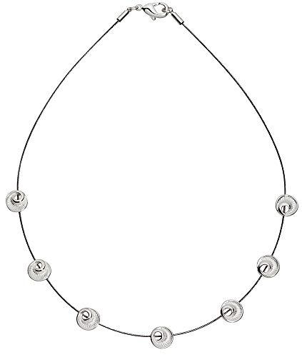Perlkönig Collier Kette Halskette | Damen Frauen | Silber Farben | Runde 7 Ammoniten | Nickelabgabefrei
