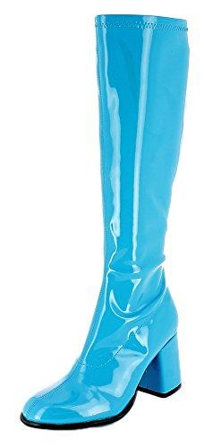 Das Kostümland Gogo Damen Retro Lackstiefel - Türkis Gr. 38 - Tolle Schuhe zur 70er 80er Jahre Disco Hippie Mottoparty