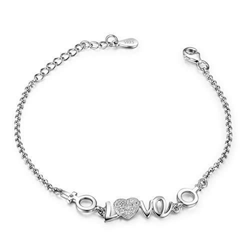 WFYJY-S925 Sterling-Silber-Armband Einfache Joker Liebe Damen Silberne Hand Schmuck Mode-Schmuck Liebhaber-Zubehör Geschenke.