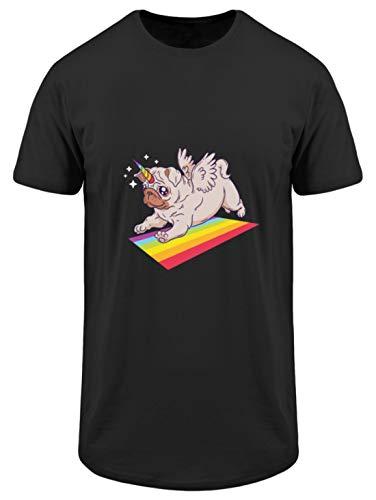 MOPS Einhorn Regenbogen T-Shirt Hoodie - T-Shirt Urban Basic -XXL-Noir -