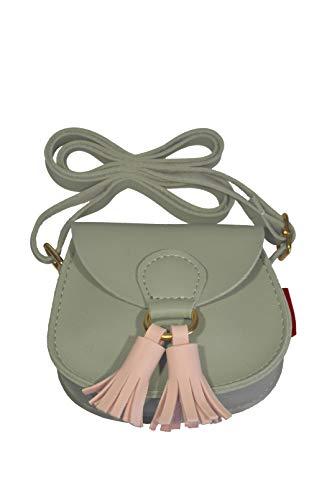 k:s me Tasche mit Bommel ◉ Mädchen Tasche ◉ Schultertasche ◉ Handtasche ◉Geschenkidee ◉ kids bag (Grau mit rosarotem Bommel) - Magnetische Anhänger