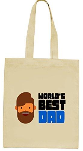 Geschenkidee natur Jutebeutel Stoffbeutel mit World's Best Dad Motiv von ShirtStreet Natur