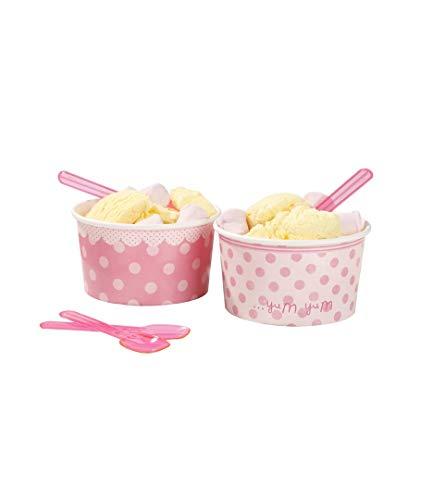 Rellena estas preciosas tarrinas con fruta, dulces, gominolas o con tu helado favorito. Incluyen cucharas pequeñas a juego. Se vende en packs de 8 tarrinas con 8 cucharas pequeñas de plástico a juego.  Medidas: 10cm x 5cm