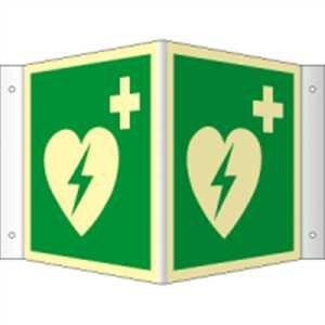 Winkelschild Automatisierter externer Defibrillator (AED) HIGHLIGHT PVC 20 x 20cm mit 4 Bohrungen à 3 mm Ø Leuchtdichte: HIGHLIGHT 48 mcd/m² gemäß ISO 7010, E010 -