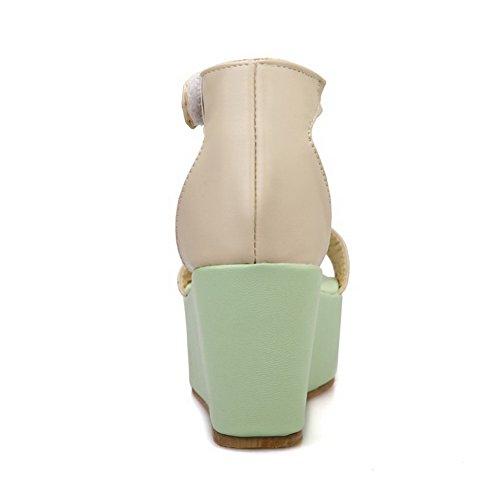 VogueZone009 Femme Couleur Unie Pu Cuir à Talon Haut Velcro Ouverture D'Orteil Sandales Vert