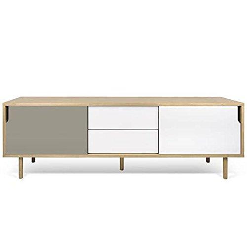 DANN, buffets à portes coulissantes, avec ou sans tiroirs - DANN 201, pieds bois, Structure en chêne (placage), portes en blanc et gris mat