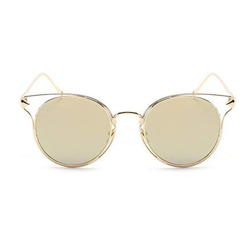 Vintage Metall umrandeten Katzenaugen Sonnenbrille UV-Schutz für Outdoor Driving Urlaub Strand für Frauen Männer. Brille (Farbe : Gold)