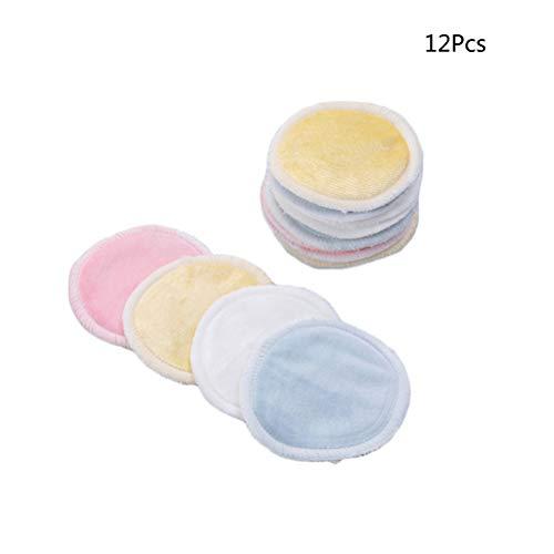 Imagen para Lurrose 16 Unids Bambú Natural Removedor de Maquillaje Cojines Redondos Tres Capas Reutilizable Suave Cuidado Facial Lavado Almohadillas Almohadillas Removedor de esmalte