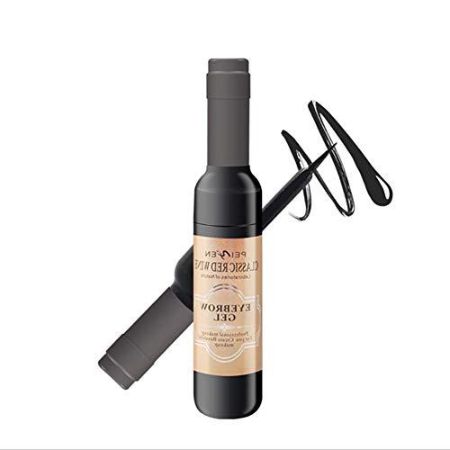 1PC Tätowierung Augenbrauen-Gel Peel Off natürliche Augenbraue Langlebige Braue Gel Wasserdicht Tint Färbecreme Weinflasche Design-Dye-Creme (Grau Schwarz)
