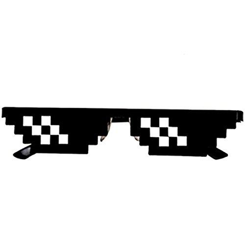 Faith Wings Neuheit Sonnenbrille, Thug Life Brille 8 Bit Pixel Deal with it Sonnenbrille Unisex Schutzbrillen Eyewear Spielzeug (2 Mosaik)