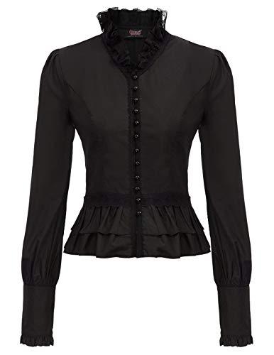 SCARLET DARKNESS Blusa Victorian Steampunk para Mujer con Volantes Vintage Gothic Talla XL Negro