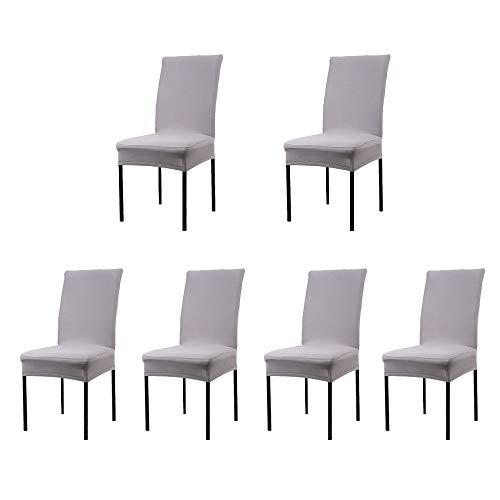 Dofilachy Stuhlhussen 6er Set Stuhlbezug Stretch aus Polyester Elastizität und Bügelfrei Abnehmbare Stuhlbezug für Festen Hochzeiten und Feiern Geburtstag Dekoration Stuhl (6 Stück, Grau)