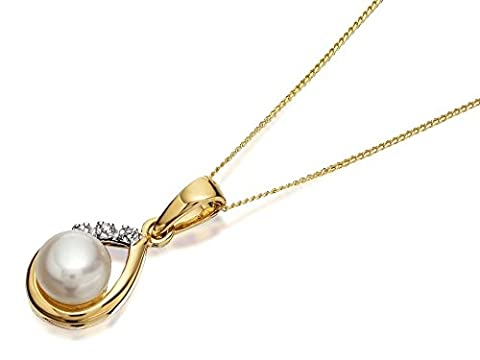 F.Hinds Womens Jewellery 9ct Gold Freshwater Pearl And Diamond Teardrop Necklace