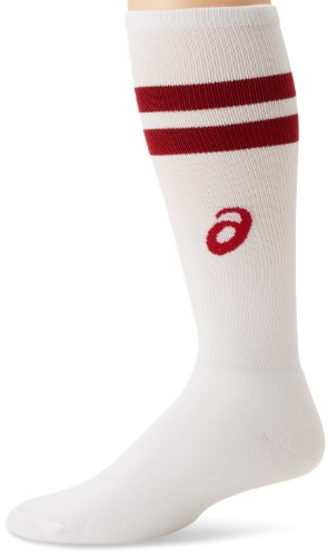 ASICS Herren Old School Striped Knee High Socken, weiß/rot, Medium