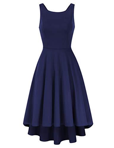 Clearlove Damen Vintage 50er Cap Sleeves Dot Einfarbig Rockabilly Swing Kleider