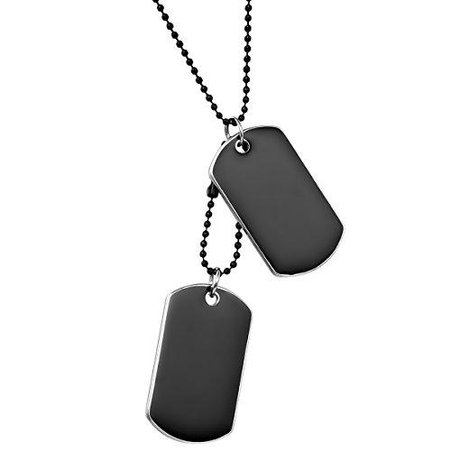 JewelryWe Schmuck Herren Halskette, 2 Militärischen Erkennungsmarken Armee Stil Dog Tag Anhänger mit 70cm Kette, Schwarz