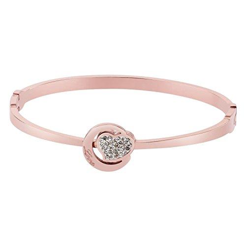 8bba7f6a0c3108 KnSam in Acciaio Inossidabile Bracciali Donna Letteratura Love Cuore  Rotondo E Innamorato Oro Rosa